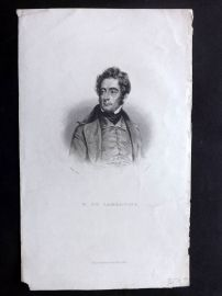 Bentley 1848 Antique Portrait Print. M. de Lamartine